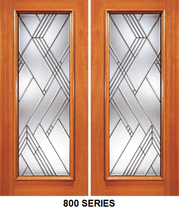 Solid Wood Full Panel Beveled Glass Entrance Door