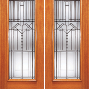 Mahogany Exterior Double Door Beveled Glass