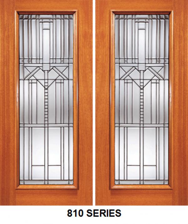 Mahogany Exterior Double Door Beveled Glass