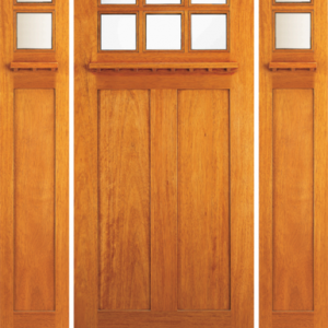 Solid Wood Mahogany Entrance Door Dual Beveled
