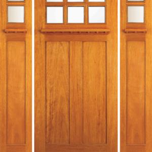 Solid Wood Mahogany Entrance Door Dual Beveled