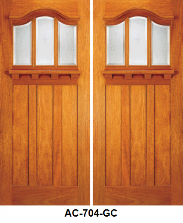 Exterior Mahogany Double Door Arts Crafts Design