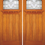 Solid Core Mahogany Entrance Double Door Art Glass