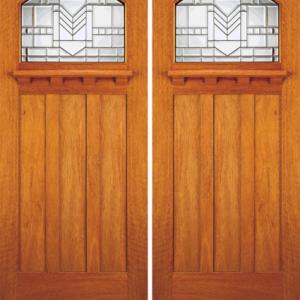 Solid Core Mahogany Entrance Double Door Art Glass