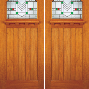 Solid Mahogany Front Entry Door Stain Glass