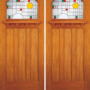 Solid Wood Double Entrance Door Stained Glass