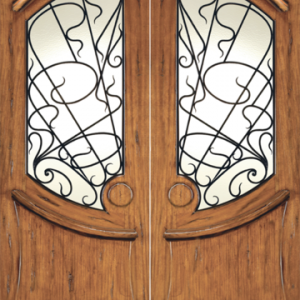 Art Nouveau Mahogany Wood Door AN-2001