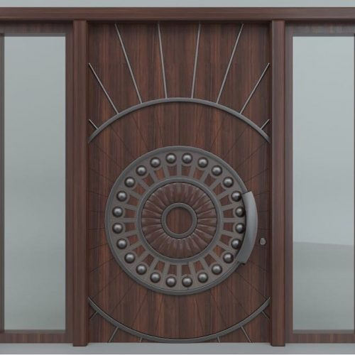 hand-crafted-solid-wood-single-entry-door-two-clear-side-lite