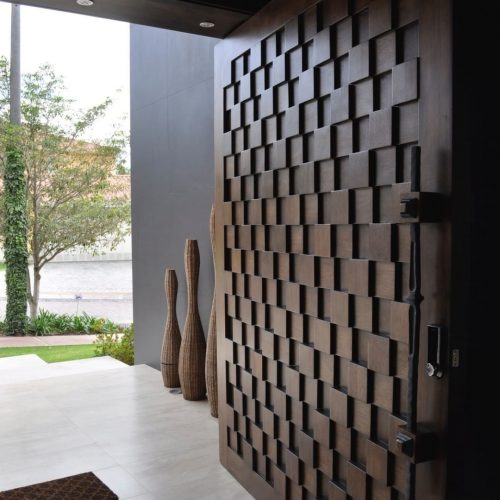 hand-made-checker-pattern-single-front-entry-door-solid-wood